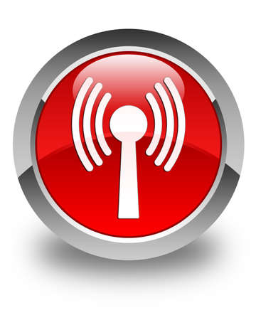 crossover: Wlan network icon glossy red round button