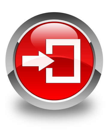 secure site: Login icon glossy red round button Stock Photo