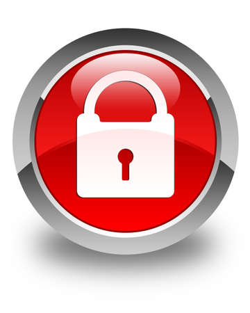 Padlock icon glossy red round button photo
