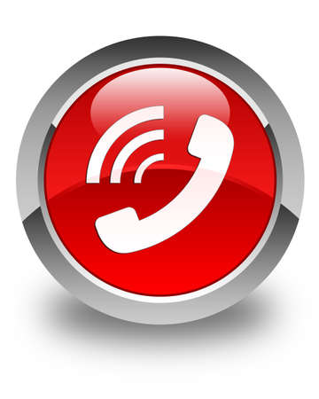 Phone ringing icon glossy red round button