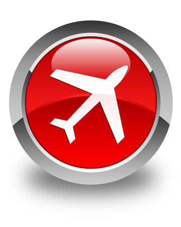airway: Plane icon glossy red round button