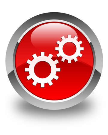 preference: Process gears icon glossy red round button Stock Photo