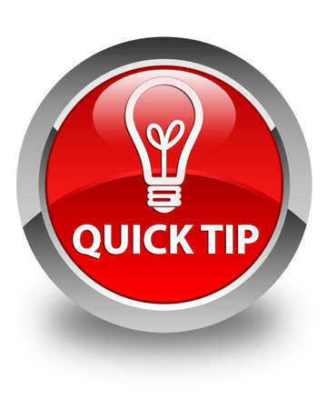 quick: Quick tip (bulb icon) glossy red round button