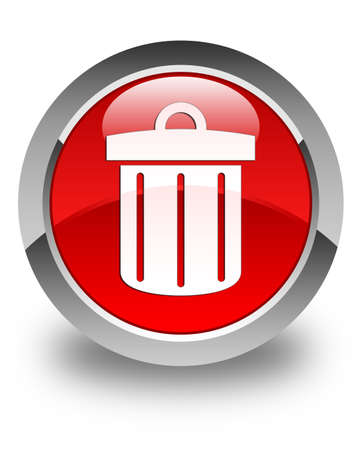 Recycle bin icon glossy red round button photo