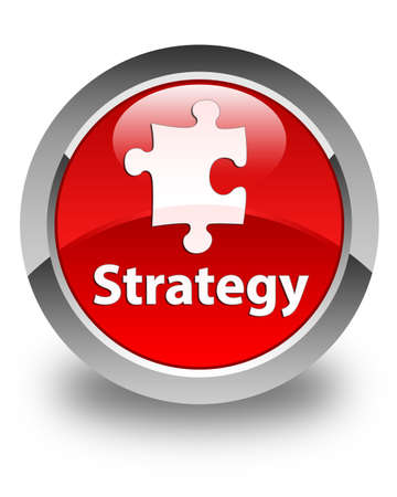 plugin: Strategy glossy red round button Stock Photo