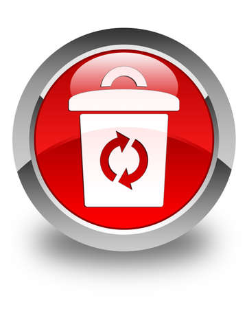 Trash icon glossy red round button photo