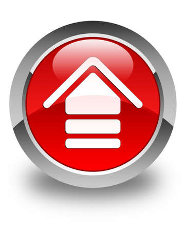 uploading: Upload icon glossy red round button Stock Photo