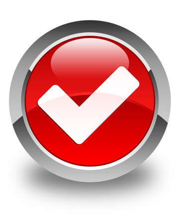 validate: Validate icon glossy red round button Stock Photo
