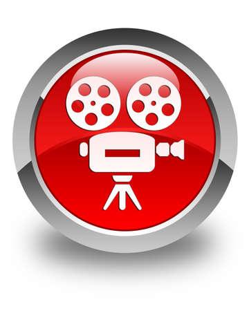 video camera icon: Video camera icon glossy red round button