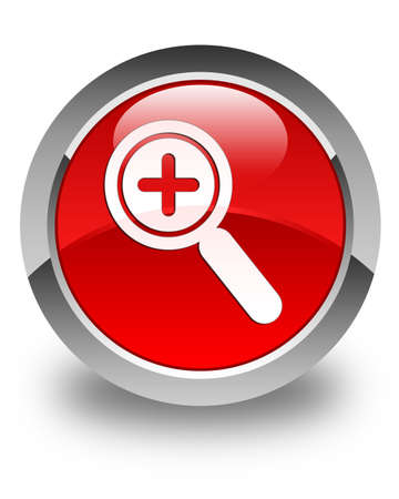 zoom in: Zoom in icon glossy red round button Stock Photo