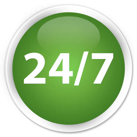twenty four hours: 24by7 icon green round button