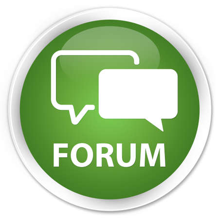 round button: Forum green round button Stock Photo