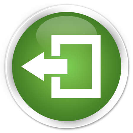 logout: Logout icon green glossy round button Stock Photo