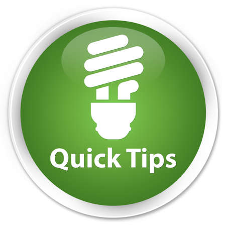 hints: Quick tips (bulb icon) green glossy round button Stock Photo