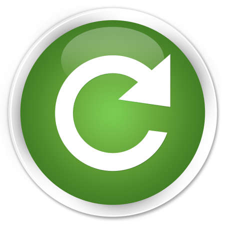 reply: Reply rotate icon green glossy round button Stock Photo
