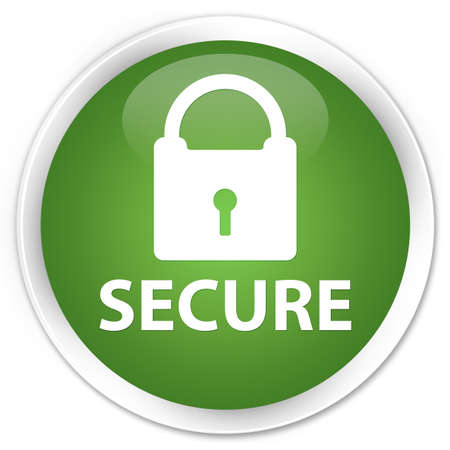 secure: Secure green round button Stock Photo