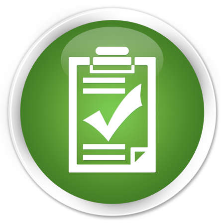 Checklist pictogram groene knop ronde Stockfoto