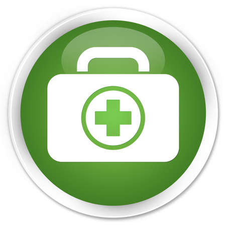 First aid kit bag icon green glossy round button photo