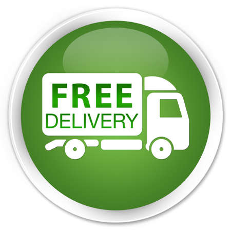 Free delivery (truck icon) green round button photo