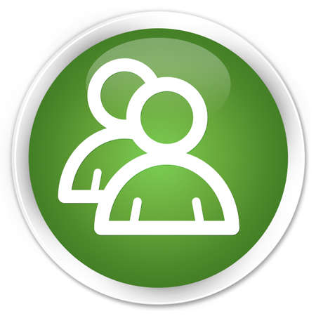 Group icon green glossy round button photo