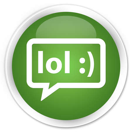 laugh out loud: LOL bubble icon green round button