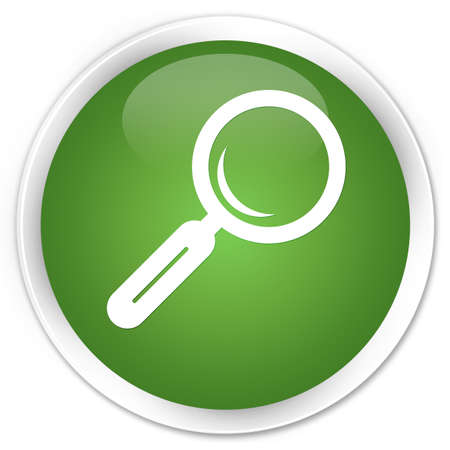Magnifying glass icon green glossy round button photo