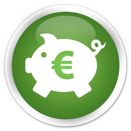money box: Money box (euro sign) icon green round button