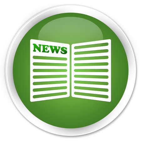 Newspaper icon green round button photo