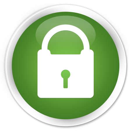 Padlock icon green glossy round button photo