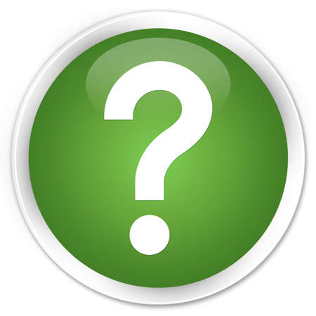 question mark icon: Question mark icon green glossy round button