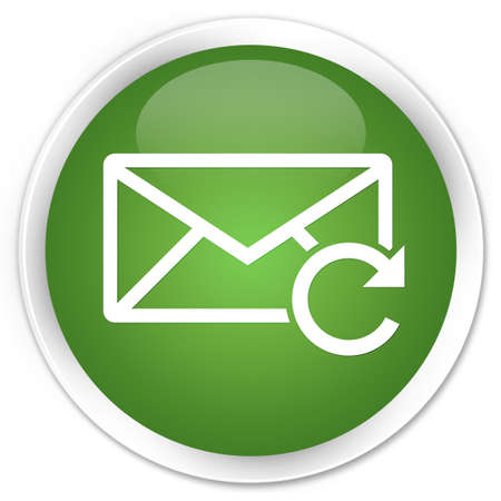 Refresh email icon green glossy round button photo
