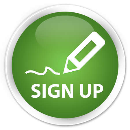 registry: Sign up green glossy round button