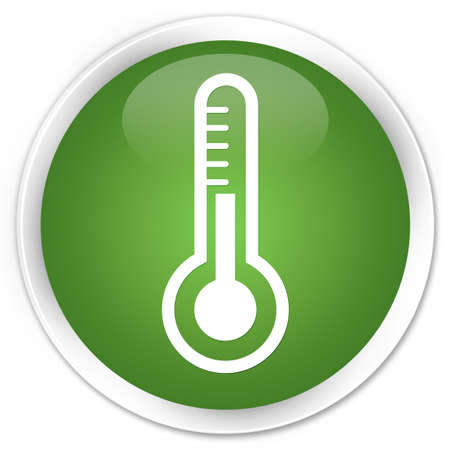 Thermometer icon green glossy round button photo
