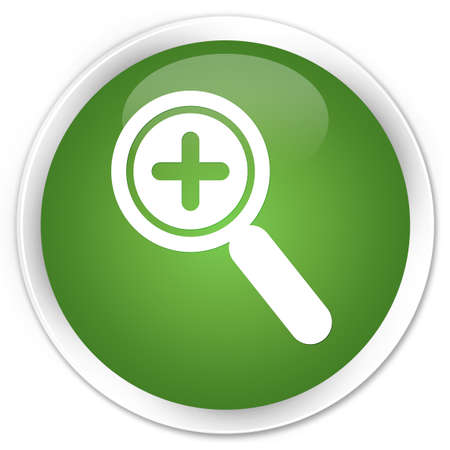 zoom in: Zoom in icon green round button Stock Photo