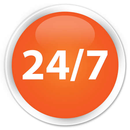 twenty four hour: 247 icon orange glossy round button Stock Photo