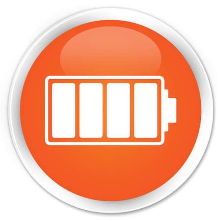 Battery icon orange glossy round button