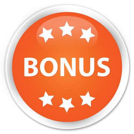 extra money: Bonus orange glossy round button Stock Photo