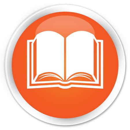 Book icon orange glossy round button