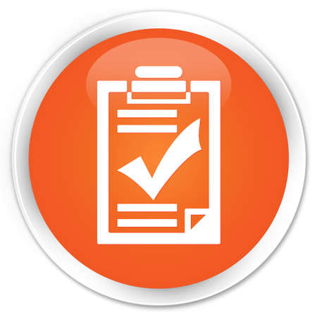 Checklist icon orange glossy round button photo