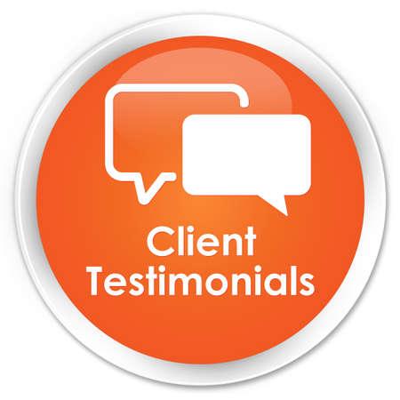 authenticate: Client testimonials orange glossy round button