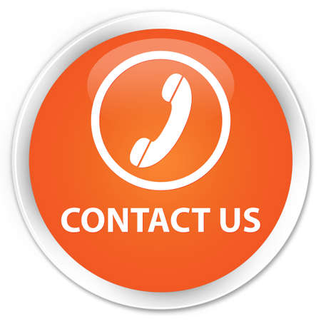 phone us: Contact us (phone icon) orange glossy round button