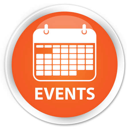 event planner: Events orange glossy round button Stock Photo