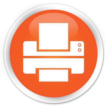 toner: Printer icon orange glossy round button Stock Photo