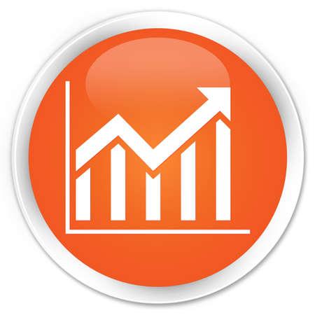 Statistics icon orange glossy round button photo