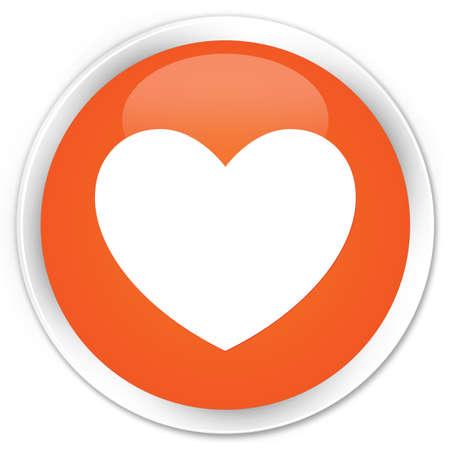 valentin's: Heart icon orange glossy round button Stock Photo