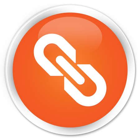 attache: Link icon orange glossy round button Stock Photo