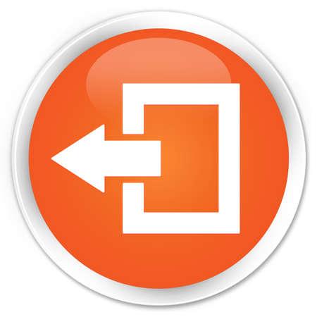 log off: Logout icon orange glossy round button Stock Photo
