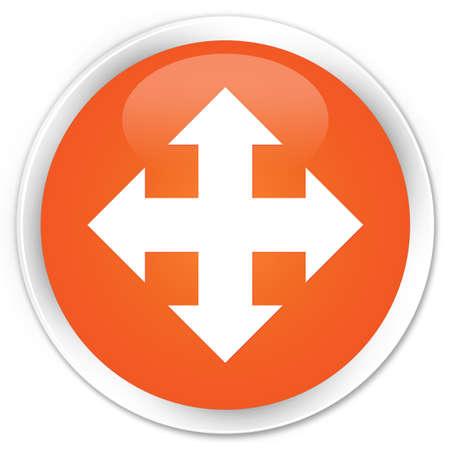 go forward: Move icon orange glossy round button