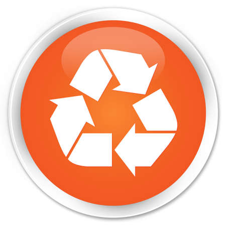 echo: Recycle icon orange glossy round button Stock Photo