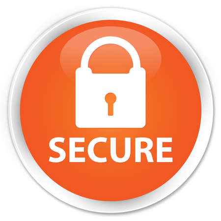 insecure: Secure orange glossy round button